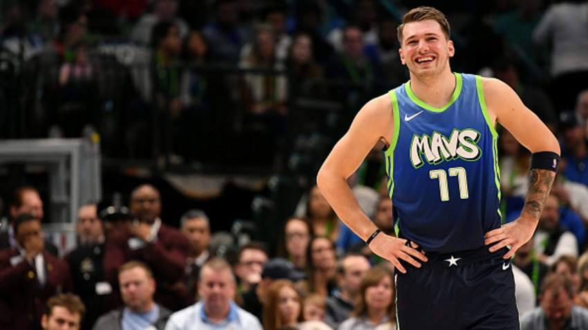 Luka Doncic #77 of the Dallas Mavericks smiles during the game against the New Orleans Pelicans on Dec. 7, 2019 at the American Airlines Center in Dallas, Texas.
