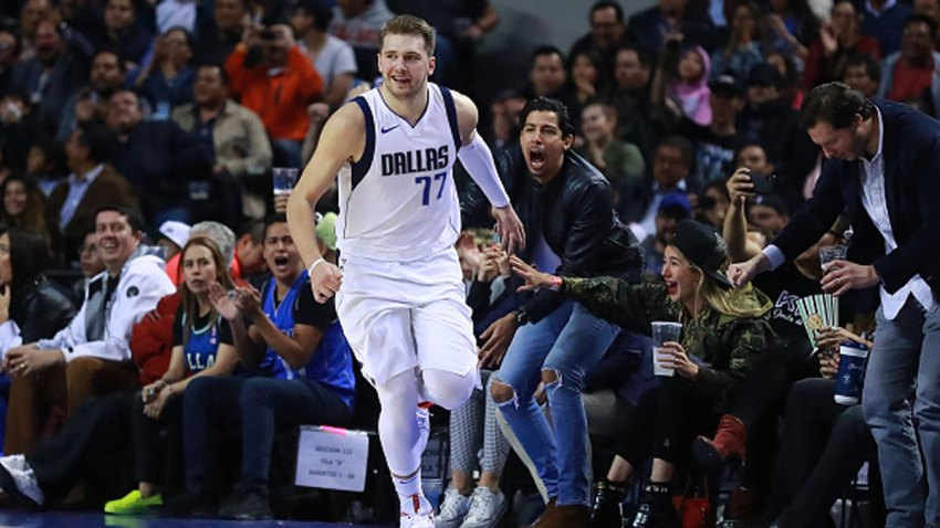Luka Doncic #77 of the Dallas Mavericks celebrates during a game between Dallas Mavericks and Detroit Pistons at Arena Ciudad de Mexico on Dec. 12, 2019 in Mexico City, Mexico.