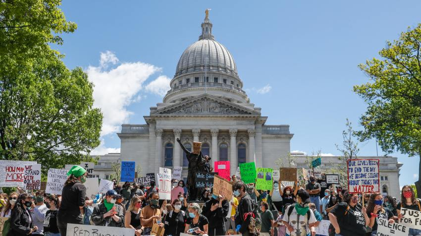 In this May 30, 2020, file photo, protesters gather on the steps of the Wisconsin Capitol during a peaceful protest in Madison, WI.