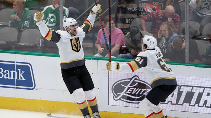Max Pacioretty #67 of the Vegas Golden Knights celebrates with Mark Stone #61 of the Vegas Golden Knights after scoring the game winning goal against the Dallas Stars in overtime at American Airlines Center on Dec. 13, 2019 in Dallas, Texas.