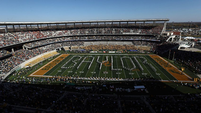 The Baylor Bears marching band performs before a game between the Texas Longhorns and the Baylor Bears at McLane Stadium on Nov. 23, 2019 in Waco, Texas.