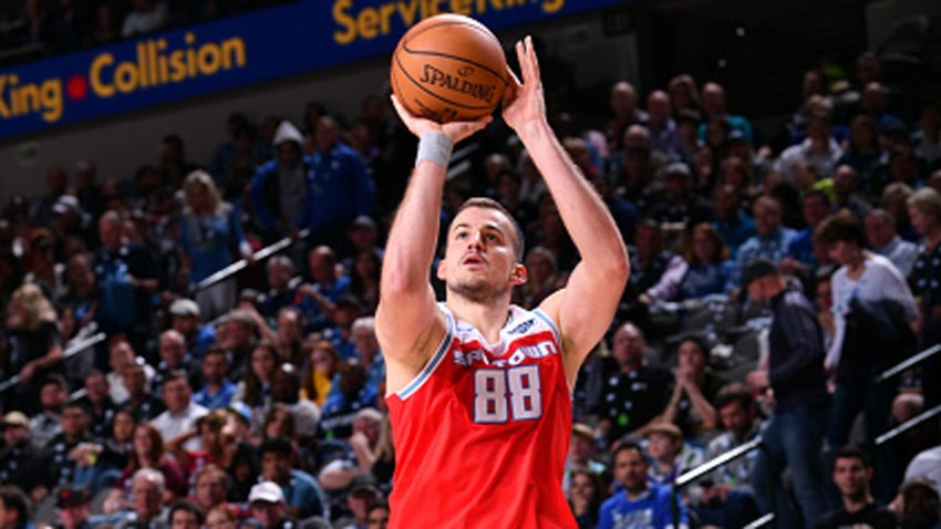 Nemanja Bjelica #88 of the Sacramento Kings shoots the ball against the Dallas Mavericks on Dec. 8, 2019 at the American Airlines Center in Dallas, Texas.