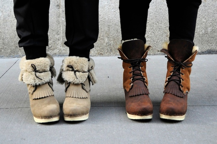 No.6 Lace Up Shearling Boots on Classic Heel