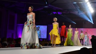 models in dresses on a runway