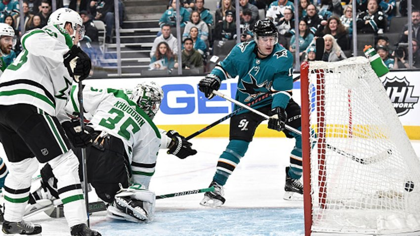 Patrick Marleau #12 of the San Jose Sharks scores a goal against the Dallas Stars at SAP Center on Jan. 11, 2020 in San Jose, California.