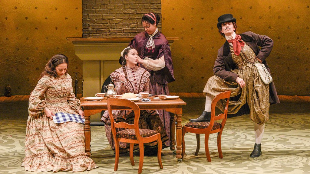 Maggie Thompson, Lilli Hokama, Jennie Greenberry and Pearl Rhein play the March sisters in Dallas Theater Center's Little Women.