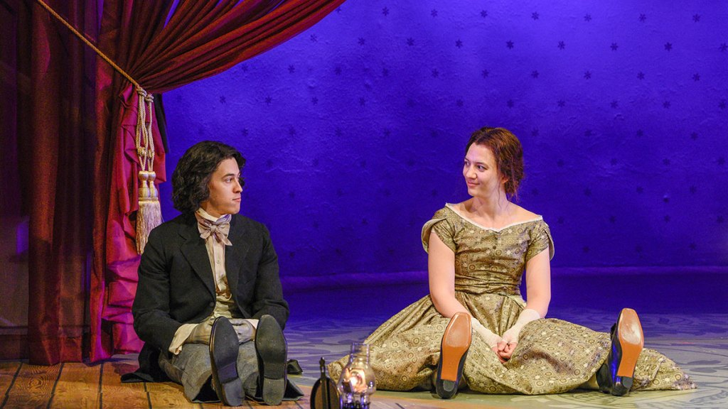 Louis Reyes McWilliams as Laurie and Pearl Rhein as Jo in Dallas Theater Center's production of Little Women.