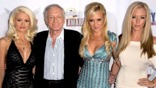 In this Sept. 24, 2008, file photo, Hugh Hefner (2nd,L) poses with (L-R) Holly Madison, Bridget Marquardt and Kendra Wilkinson at the Fox Reality Channel Really Awards at the Avalon Hollywood club in Hollywood California.