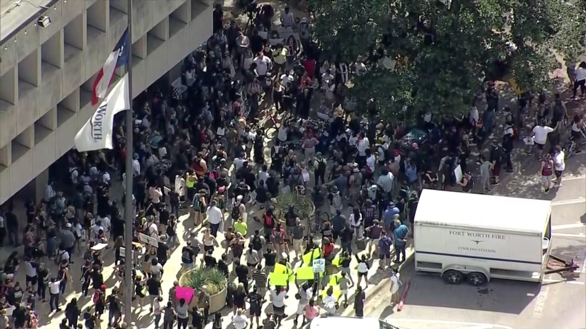 Several hundred protestors took their voices to Fort Worth City Hall on Thursday calling for justice and change in the wake of national outrage following the death of George Floyd.