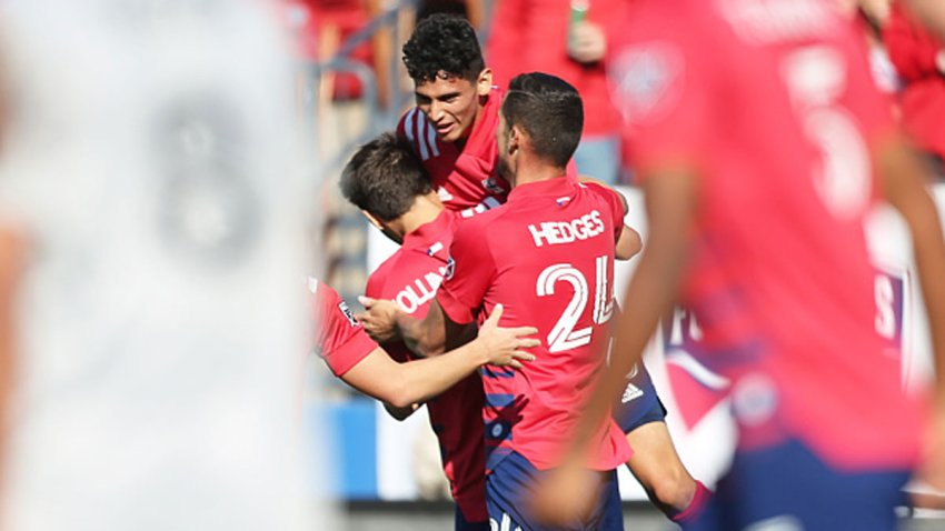 Ricardo Pepi #16 of FC Dallas celebrates with his team mates 2nd goal for his team during an MLS match between FC Dallas and Montreal Impact at Toyota Stadium on March 7, 2020 in Frisco, Texas.