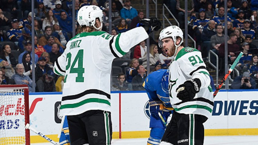 Roope Hintz #24 of the Dallas Stars is congratulated after scoring a goal against the St. Louis Blues at Enterprise Center on Feb. 8, 2020 in St. Louis, Missouri.