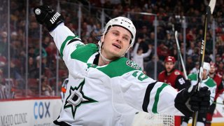 Roope Hintz #24 of the Dallas Stars celebrates after scoring a goal against the Arizona Coyotes during the third period of the NHL game at Gila River Arena on Dec. 29, 2019 in Glendale, Arizona. The Stars defeated the Coyotes 4-2.