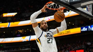 Rudy Gobert #27 of the Utah Jazz dunks during a game against the Dallas Mavericks at Vivint Smart Home Arena on Jan. 25, 2019 in Salt Lake City, Utah.