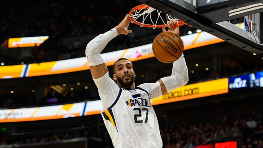 Rudy Gobert #27 of the Utah Jazz dunks during a game against the Dallas Mavericks at Vivint Smart Home Arena on Jan. 25, 2019 in Salt Lake City, Utah.