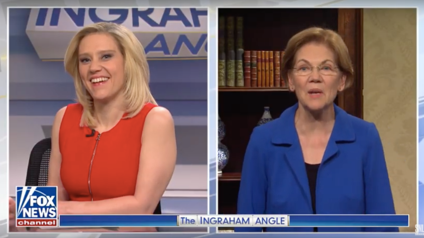 Kate McKinnon as Fox News host Laura Ingraham and Elizabeth Warren as herself
