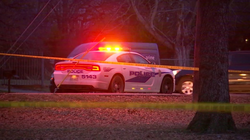 Police respond to Seagoville High School in Dallas, Texas, where a gunshot was fired during a fight between students on Monday, Dec. 9, 2019.