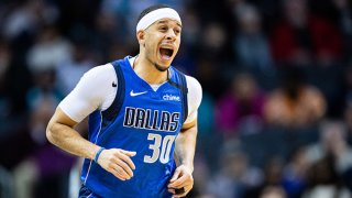 Seth Curry #30 of the Dallas Mavericks after he made a 3 point shot during the third quarter during his game against the Charlotte Hornets at Spectrum Center on Feb. 8, 2020 in Charlotte, North Carolina.