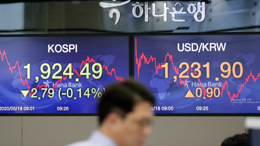 In this May 18, 2020, file photo, a currency trader walks near the screens showing the Korea Composite Stock Price Index (KOSPI), left, and the foreign exchange rate between U.S. dollar and South Korean won at the foreign exchange dealing room in Seoul, South Korea.