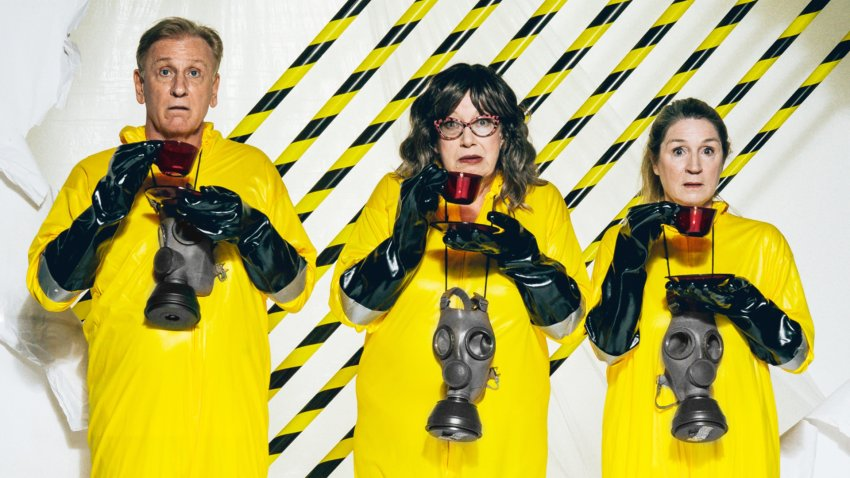 three figures in hazmat suits