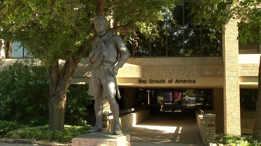 Sculpture at the entrance of Boy Scouts of America headquarters.