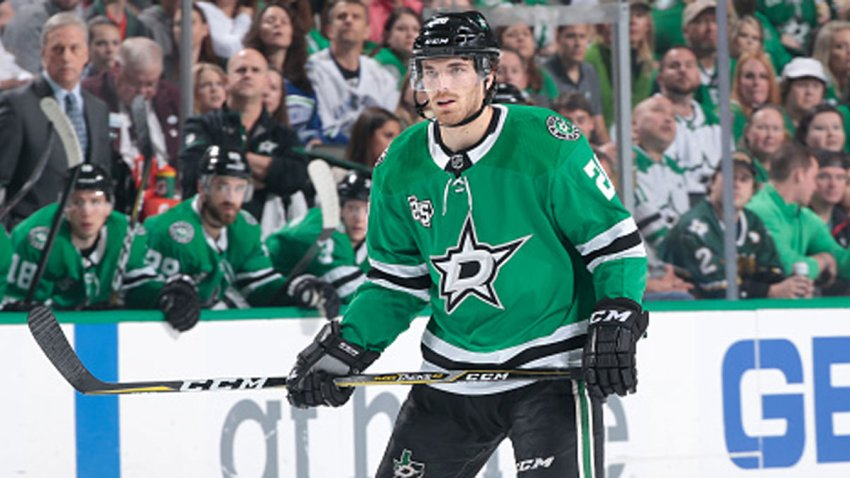 Stephen Johns #28 of the Dallas Stars skates against the Vancouver Canucks at the American Airlines Center on March 25, 2018 in Dallas, Texas.