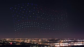 An Intel Shooting Star drones fleet lights up the sky in an Amer
