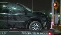 Officers Investigate Shooting After Minivan Crash
