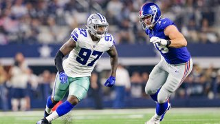 Dallas Cowboys defensive end Taco Charlton (97) rushes around the edge during the game between the New York Giants and Dallas Cowboys on September 16, 2018 at AT&T Stadium in Arlington, Texas.