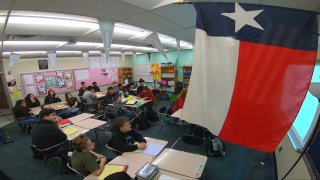 Texas flag in a classroom at Boles Junior High in Arlington