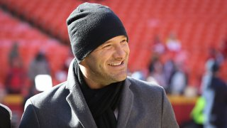 Tony Romo before the AFC Championship game between the Tennessee Titans and Kansas City Chiefs on Jan. 19, 2020 at Arrowhead Stadium in Kansas City, Missouri.