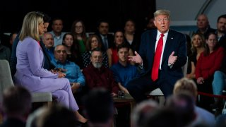 President Donald Trump speaks during a Fox News town hall at the Scranton Cultural Center, Thursday, March 5, 2020, in Scranton, Pa.
