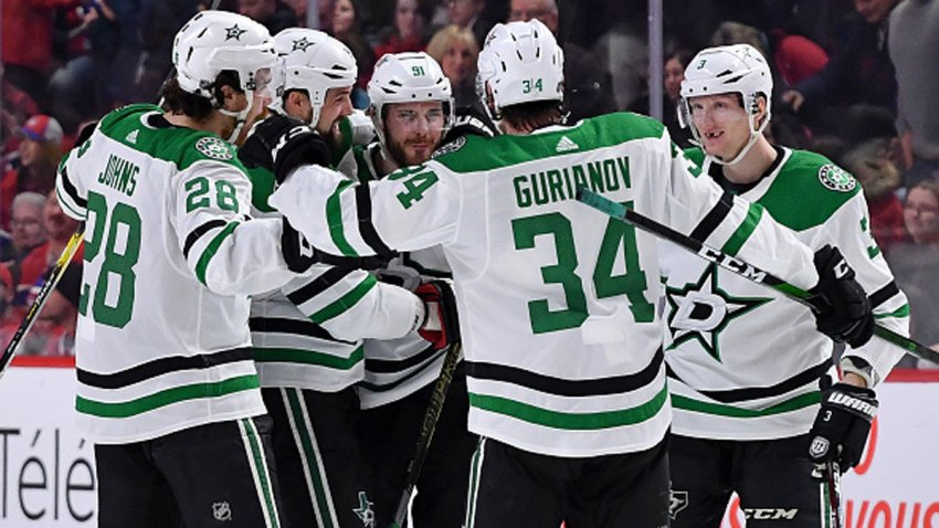 Tyler Seguin #91 of the Dallas Stars celebrates with teammates after scoring the winning goal against the Montreal Canadiens in the NHL game at the Bell Centre on Feb. 15, 2020 in Montreal, Quebec, Canada.