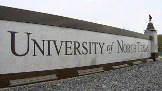 The sign of the University of North Texas college