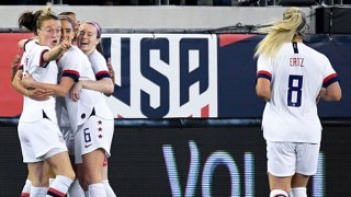 Carli Lloyd #10 of the U.S. woman's national soccer team celebrates with teammates Emily Sonnett #14, Christen Press #23 and Morgan Brian #6 after scoring during the first half against the Costa Rica woman's national soccer team at TIAA Bank Field on Nov. 10,2019 in Jacksonville, Florida.