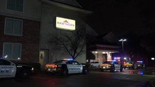 Officers were called at about 4:15 a.m. to a shooting at the Hawthorn Suites by Wyndham in the 7800 block of Alpha Road, where one person was found dead from gunshot wounds.