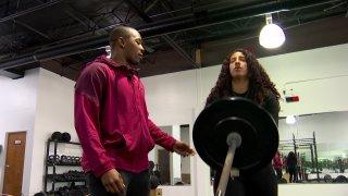 a fitness instructor helps a teacher destress