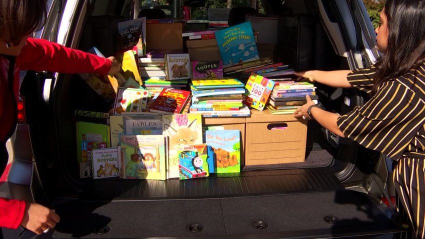 books in the bad of SUV