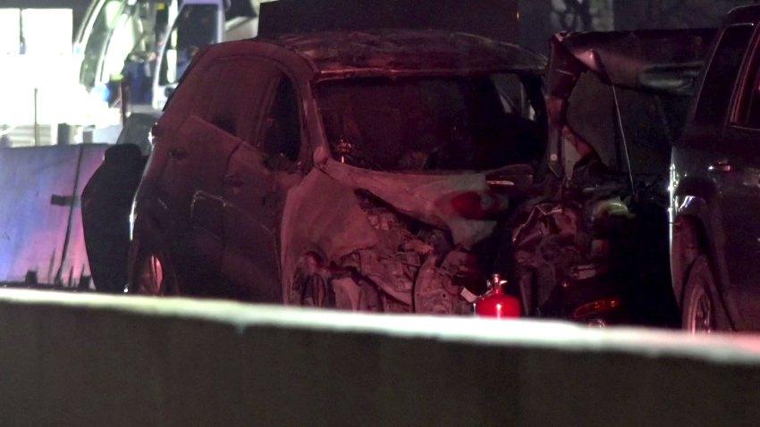 Fiery 4-Car Crash in Bedford Sends 2 to Hospital