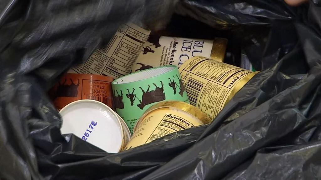 blue bell in trash bag