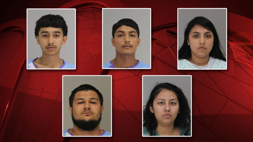 Five people were arrested Saturday in connection to a deadly shooting in Dallas Saturday, police say. Clockwise from top left: Luis Gonzalez, Jose Garcia, Laysha Garcia, Dunia Figueroa and Christopher Avila.