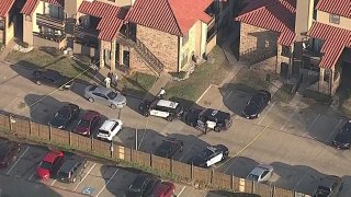 Fort Worth police investigate a shooting at the Casa Villa apartments, Friday, Dec. 13, 2019.