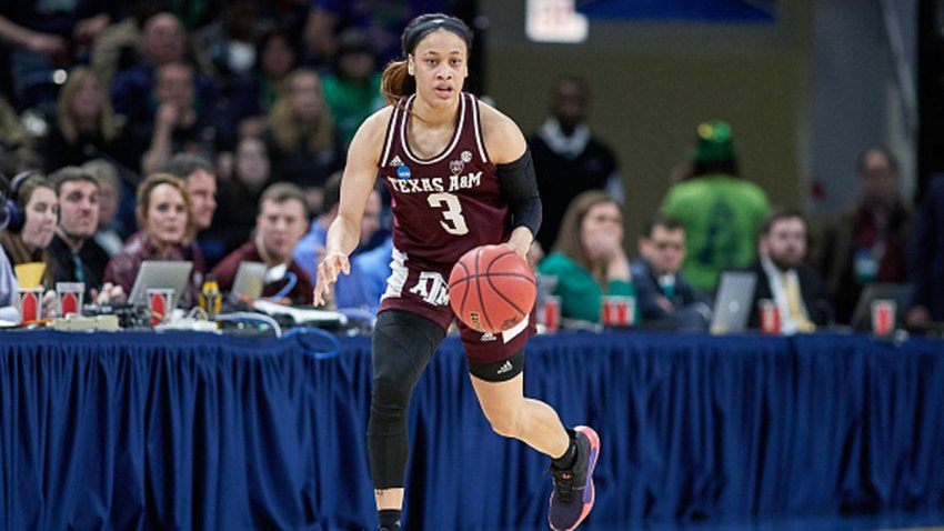 Texas A&M Aggies guard Chennedy Carter (3) dribbles the ball in game action during the Women's NCAA Division I Championship - Third Round game between the Notre Dame Fighting Irish and the Texas A&M Aggies on March 30, 2019 at the Wintrust Arena in Chicago, Illinois.