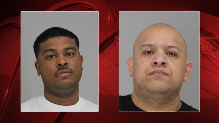 Mugshots of detention service officers Levar Weston, left, and Hector Navarette