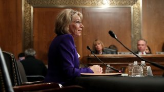 Betsy DeVos, President Donald Trump's pick to be the Secretary of Education, testifies during her confirmation hearing.