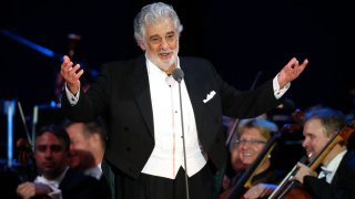 In this Aug. 28, 2019 file photo, opera star Placido Domingo salutes spectators at the end of a concert in Szeged, Hungary. The union that represents opera performers has launched its own investigation into sexual harassment allegations against Domingo, saying it cannot be sure that opera companies will delve into them sufficiently themselves.