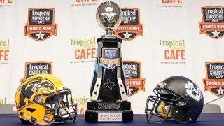 Frisco bowl trophy, team helmets