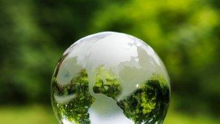 Green Earth globe glass