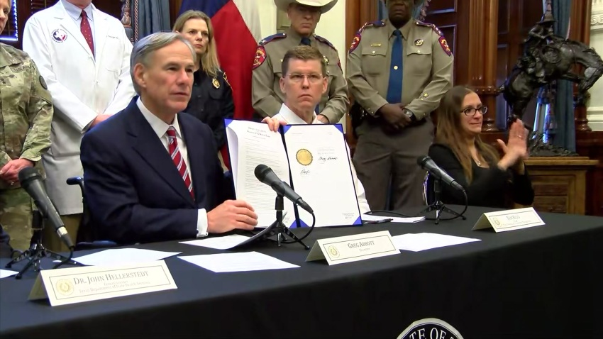 Texas Gov. Greg Abbott on Friday declared a state of disaster as the coronavirus pandemic spreads to the state's largest cities.