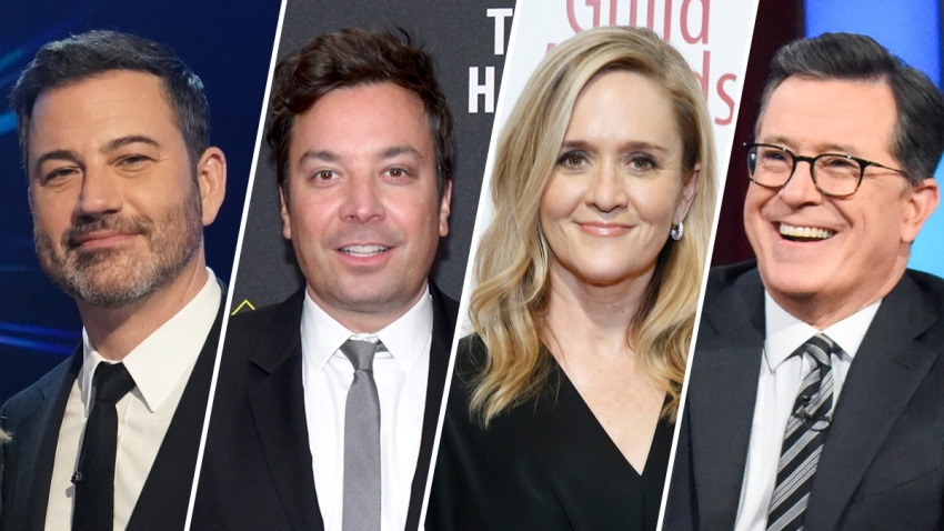 Late night hosts like Jimmy Kimmel, Jimmy Fallon, Samantha Bee and Stephen Colbert have, just like the rest of America, brought their work home with them.