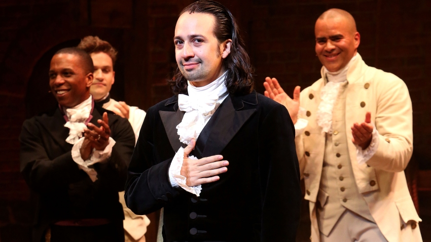 "In this July 9, 2016, file photo, Lin-Manuel Miranda performs his final performance as ""Alexander Hamilton"" in ""Hamilton"" on Broadway at The Richard Rogers Theatre in New York City."